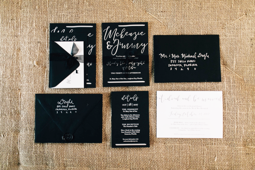 Black & Silver Wedding Invitation Suite