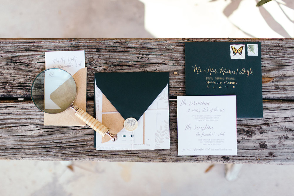 Green & Gray Neutral Wedding Invitation Suite