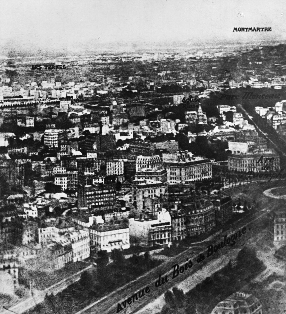 The earliest surviving aerial photograph, taken by Nadar on a hot air balloon.