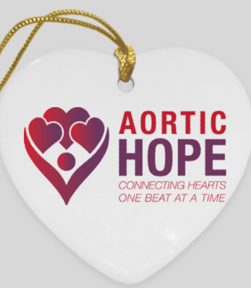 Limited Edition Aortament! - With a $10 donation, you will receive a heart-shaped, ceramic, double-sided Aortament in time for the holiday! (Back side displays our Awareness Ribbon)www.paypal.me/aortichope