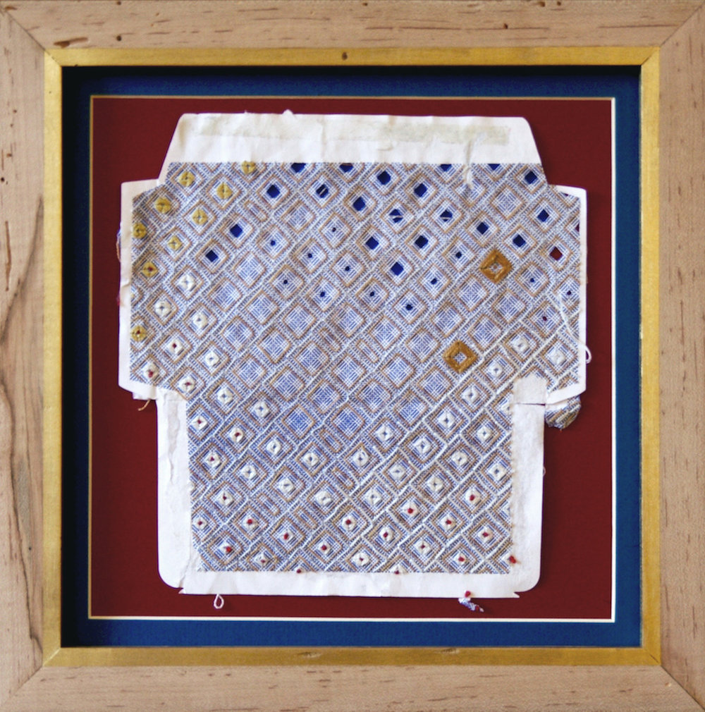 Marsie in the White House , embroidery thread on found envelope, 2014.