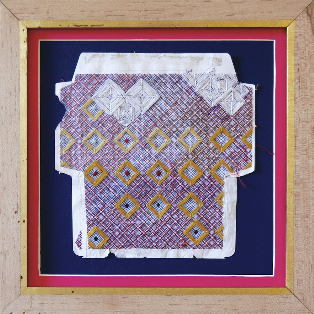 Marsie in the Pink House , embroidery thread on found envelope, 2014.