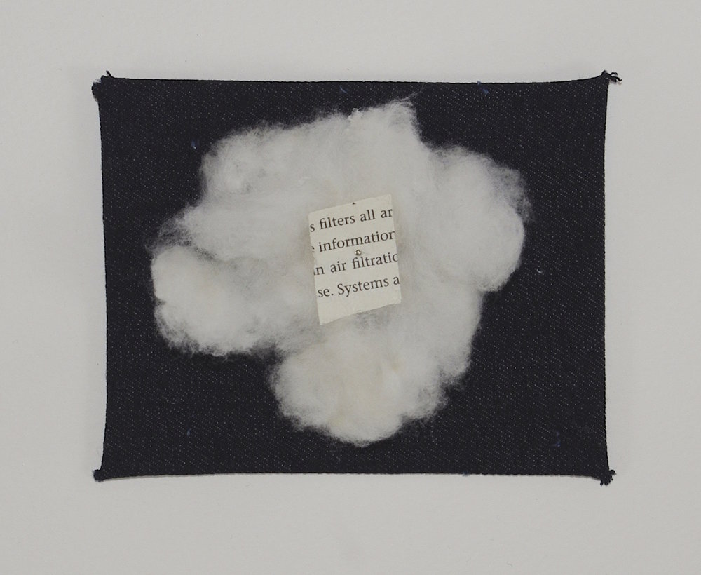 Filter , 2015, found text, cotton, and denim on matte board