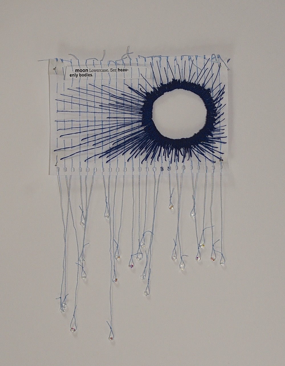 "See ""Heavenly Bodies,""  2014, found text, thread, and mini notebook pape"