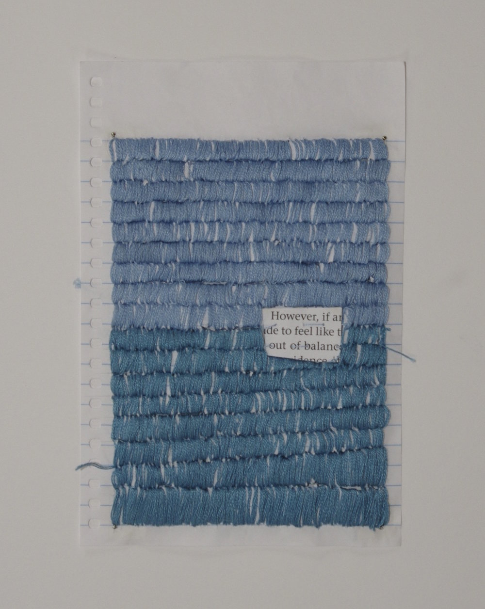 Out of Balance , 2014, found text, embroidery thread, and paper