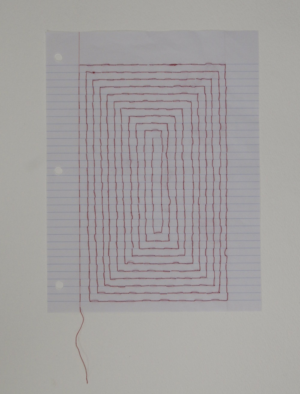 Carpet Page: Labyrinth , 2014, embroidery thread on loose leaf