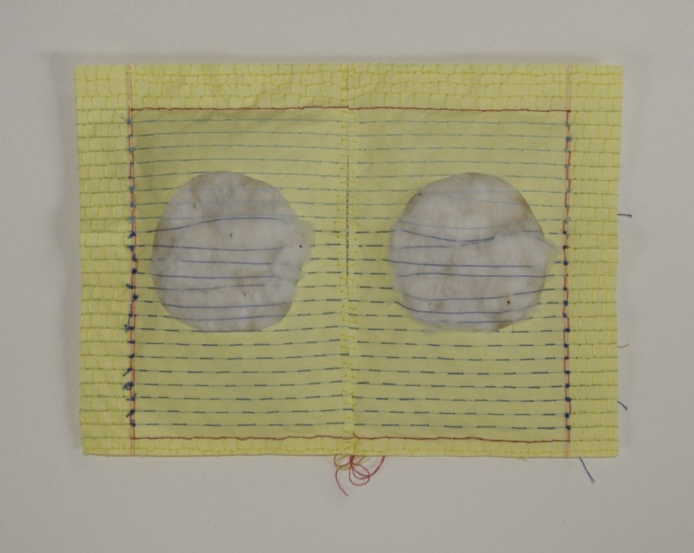 Recto Verso III , 2014, cotton, thread, and notepad paper
