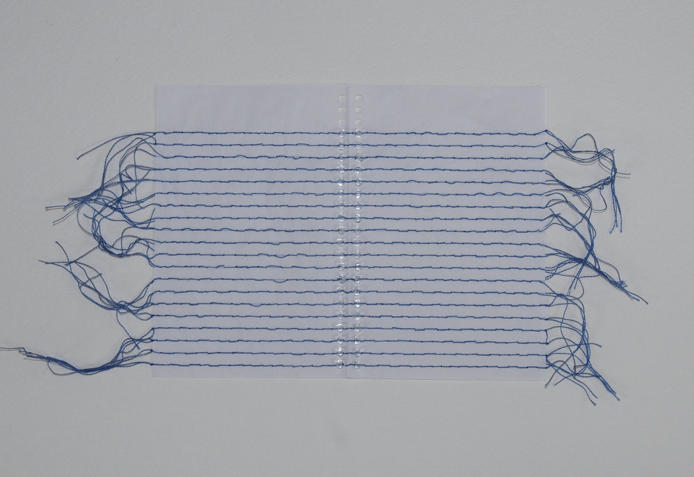 Recto Verso II , 2014, embroidery thread, beads, and mini notebook paper