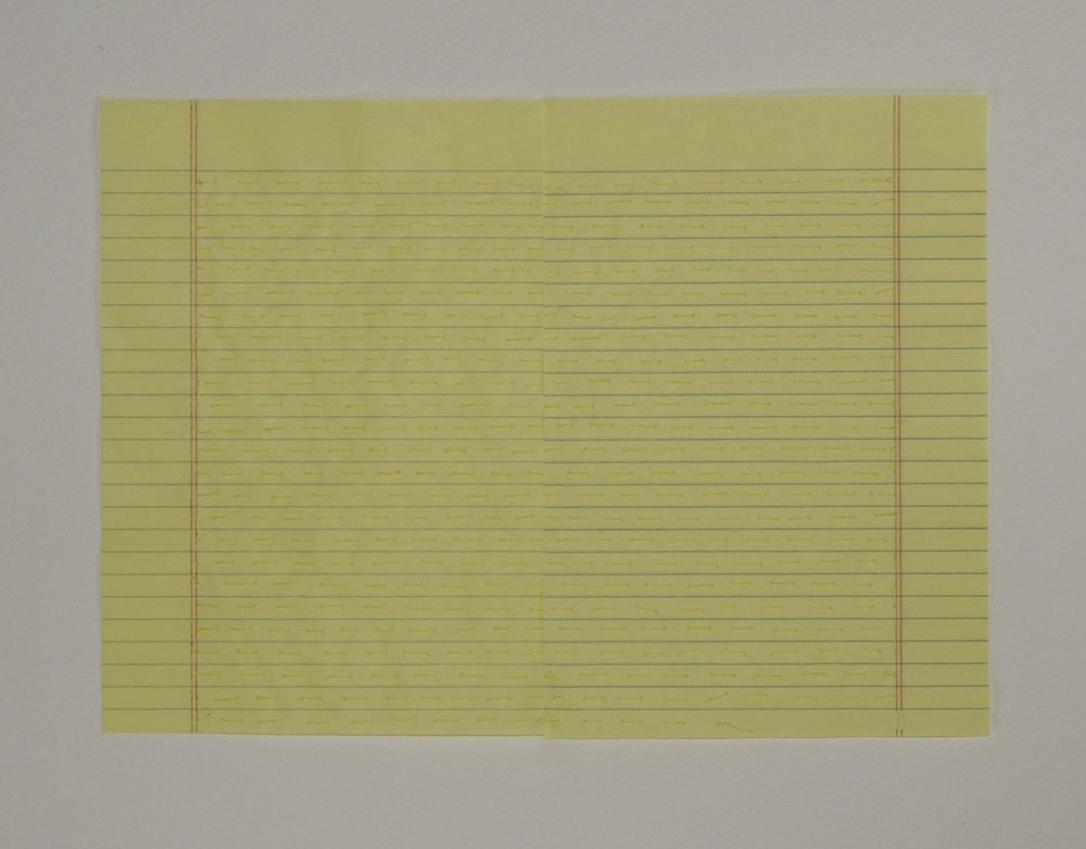 Recto Verso I , 2014, embroidery thread and notepad paper