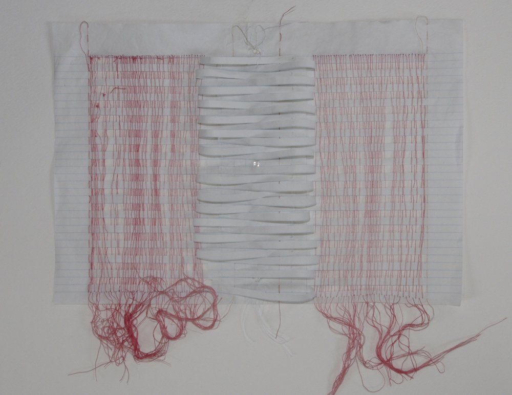 Recto Verso IV , 2014, embroidery thread, beads, and loose leaf paper