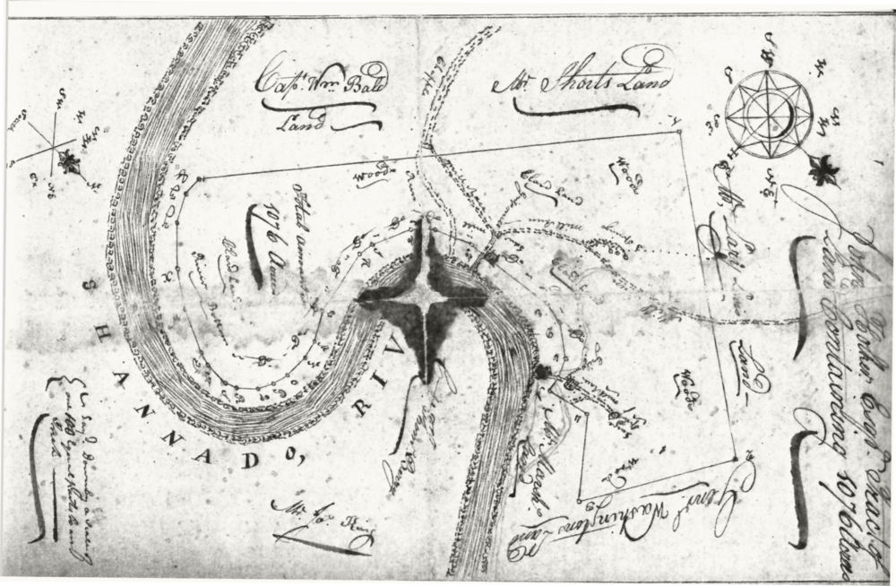 1799 Map by John Mausey Showing Locke's Mill and George Washington's Land Across from the Mill