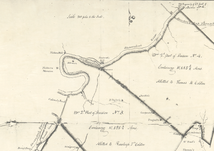 1834 Survey Map Showing Subdivisions of George Washington's Parcel and Holker's Mill and Holker's Mansion (Later Locke's Mill)