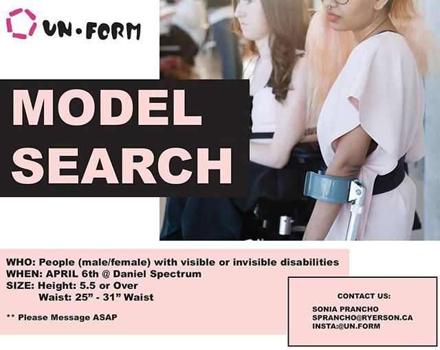 DM to Model ! 🌸🌸 . . . . . #modelsearchtoronto #modelsearch2018#unformdisabilily #fashion #thefutureisaccessible #disability #physicaldisability #ryerson #accessibleclothing #adaptiveclothing #athleisure
