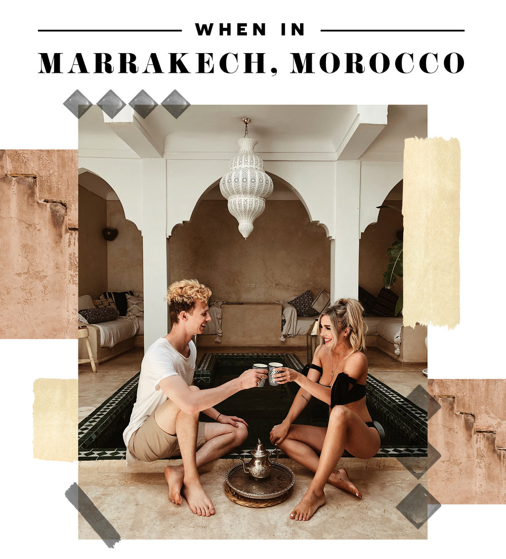 "@thestyleseed and her boyfriend in Marrakech, Morocco. Photo is titled, ""When in Marrakech, Morocco""."