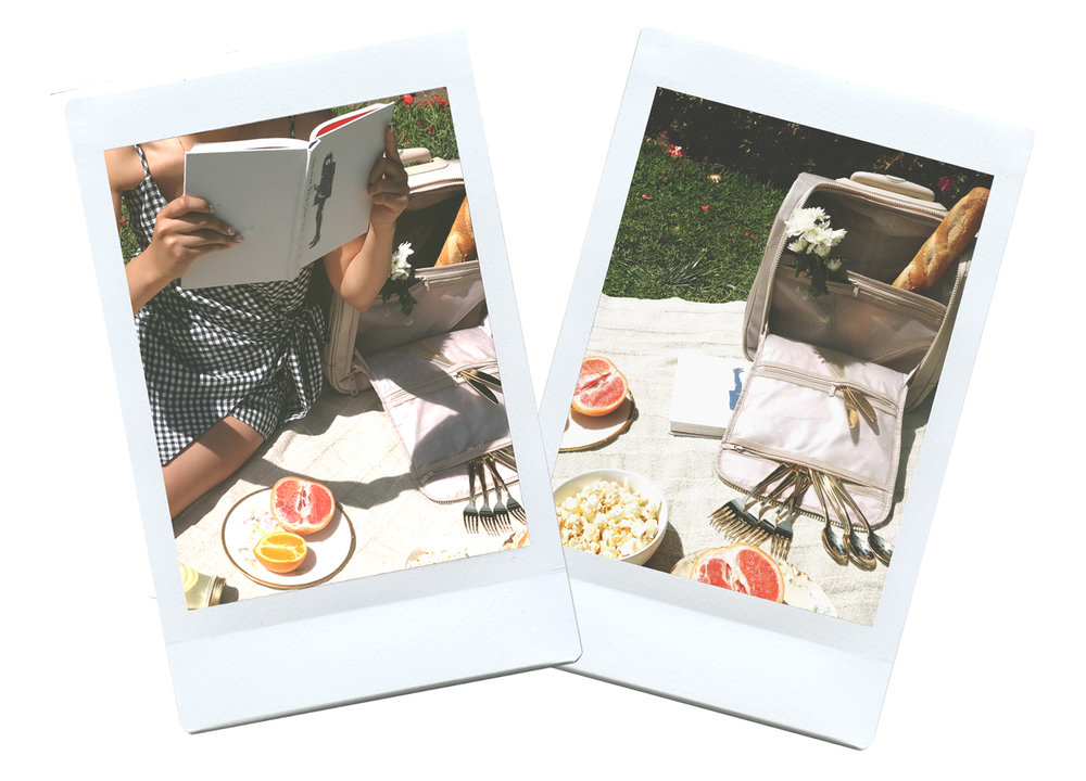 Instax Polaroid photos of picnic.