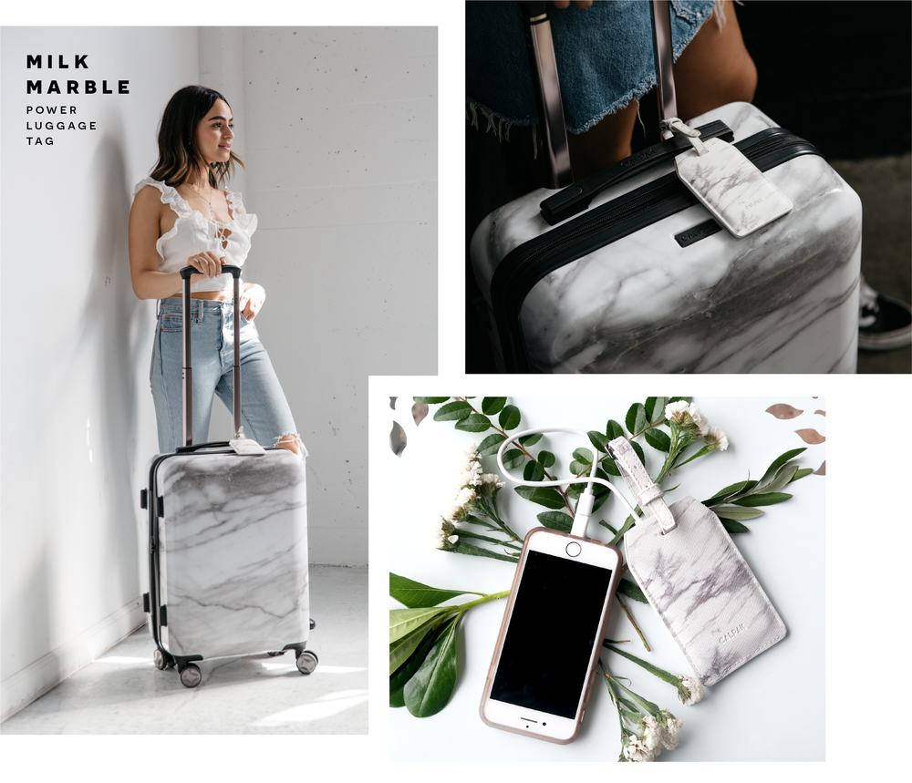 Photos of CALPAK's Milk Marble Power Luggage Tag