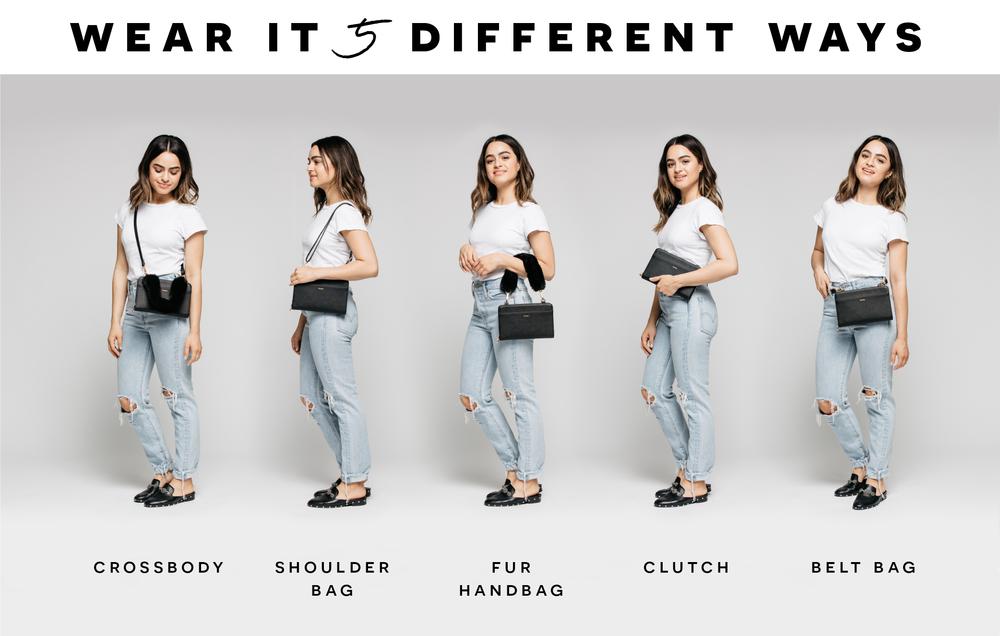Wear it 5 different ways: crossbody, shoulder bag, fur handbag, clutch and belt bag.