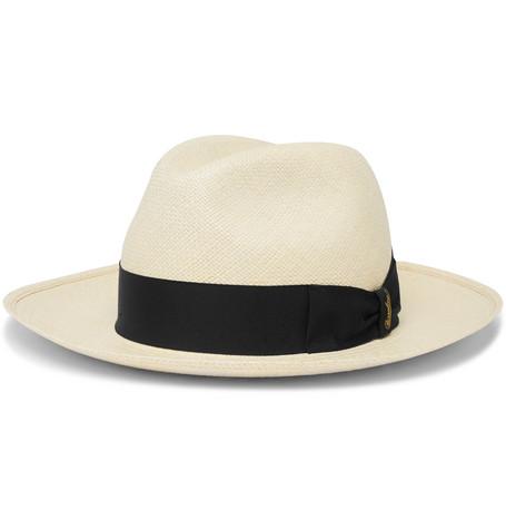 Borsalino Grosgrain-Trimmed Straw Panama Hat  - $320