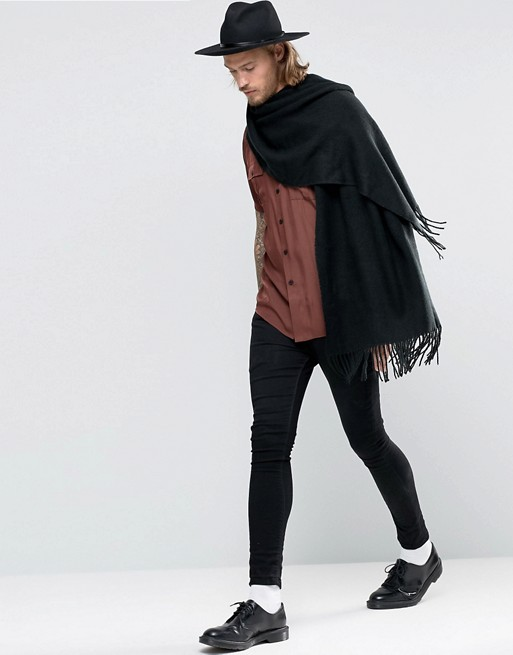 Asos Woven Blanket Scarf In Black