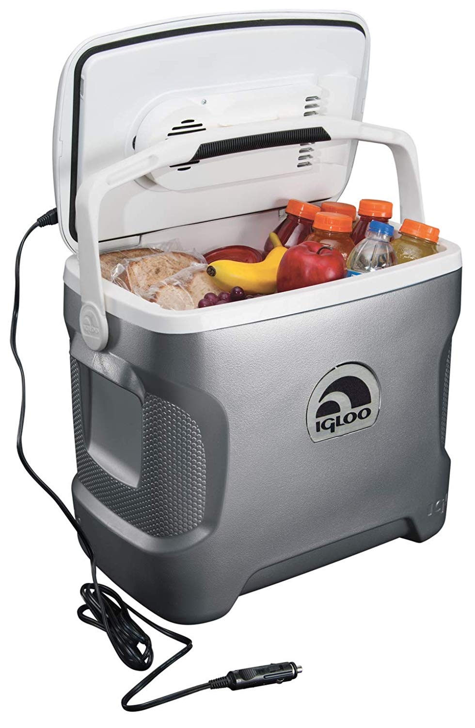 The Igloo Iceless Cooler - Fill up your refillable water canteens and keep any refreshments cold in the mini cooler of your dreams. The Igloo Iceless Cooler adapts into your car's cigarette lighter and keeps items as cold as 36 F. Also, its' lightweight body is designed to fit between your center console and the dashboard for easy access.