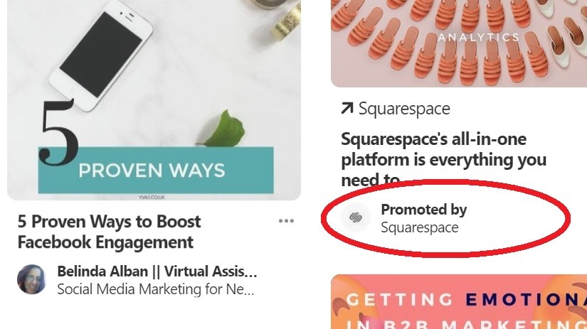 How Promoted pins look different from organic pins