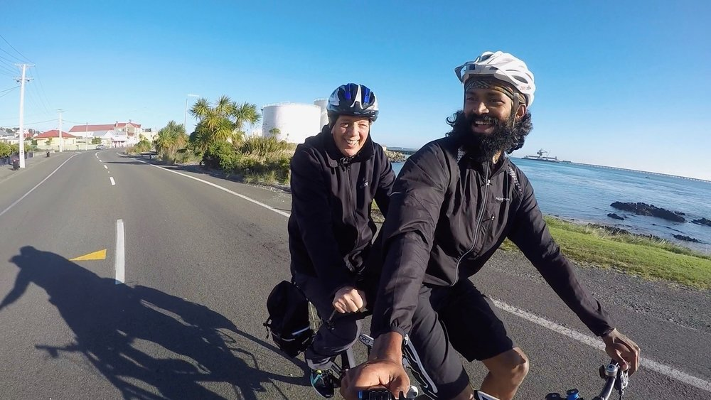 My last passenger Tim Shadbolt rode with me in Invercargill during the last leg of Freedom Seat and finished in Bluff.