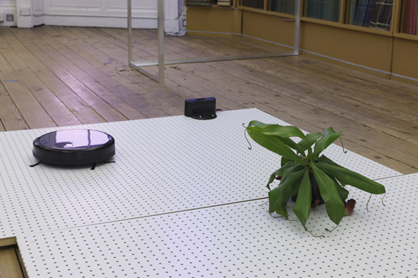 David Beattie    Shifting forms , 2018  Aluminium, UV fly zapper, glass jar, fly larvae, electrical cable, pegboard, robotic vacuum cleaner, carnivorous plants (nepenthes, sarracenia and pinguicula)