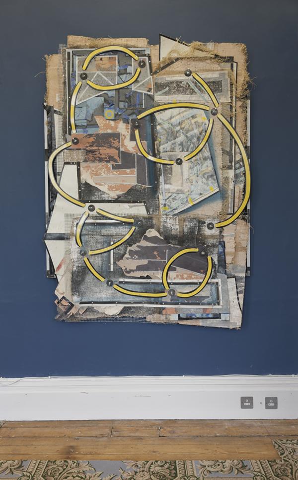 Neil Carroll    Running under the seracs , 2018  Household emulsion paint, plaster, burlap, wire mesh, timber, paper, plastic sheeting, linoleum flooring, tape, bolts, 185cm X 135cm