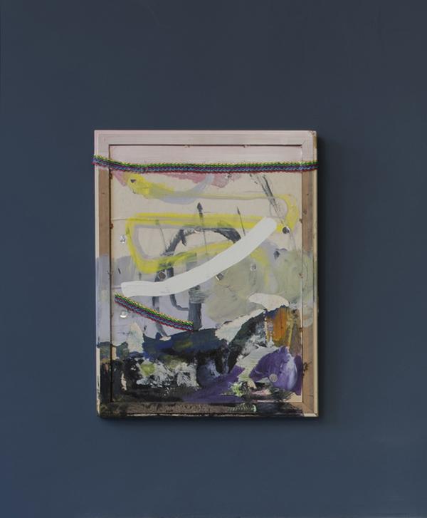 Sarah O'Brien    PRINCESSA , 2017  Paint and textile on board, 67 x 52 cm