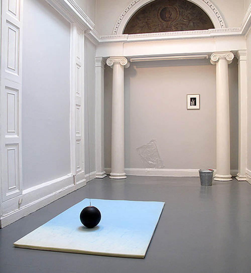 Static, 2013  rubber ball, steel wire, motor, polyurethane foam, cling film, galvanised bucket, salt dimensions variable