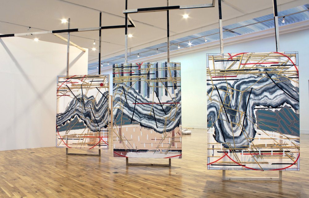 The view from the hilltop   wood, marmoleum flooring, perspex, plaster, household paints, insulation tape 395cm X 210cm (triptych) , 2013