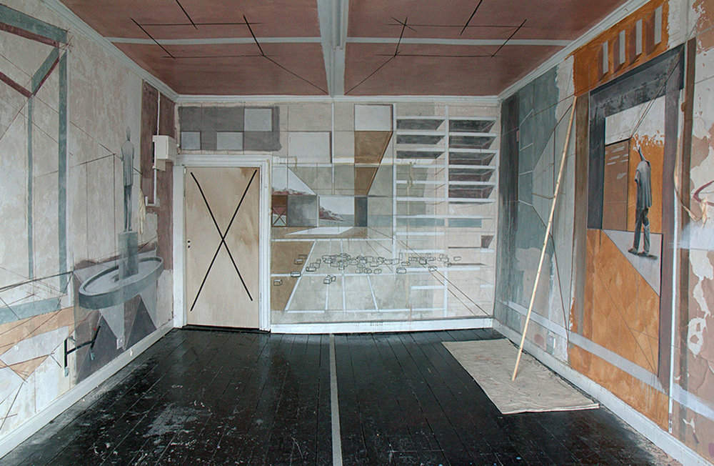 Changeable Limit   plaster, emulsion paint, wood, painters drop-cloth, dimensions variable  ,  2011