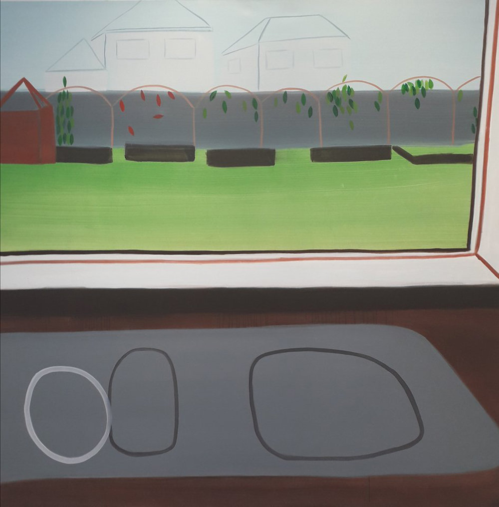 Behind the glass , 2018 oil on canvas, 160cm X 160cm