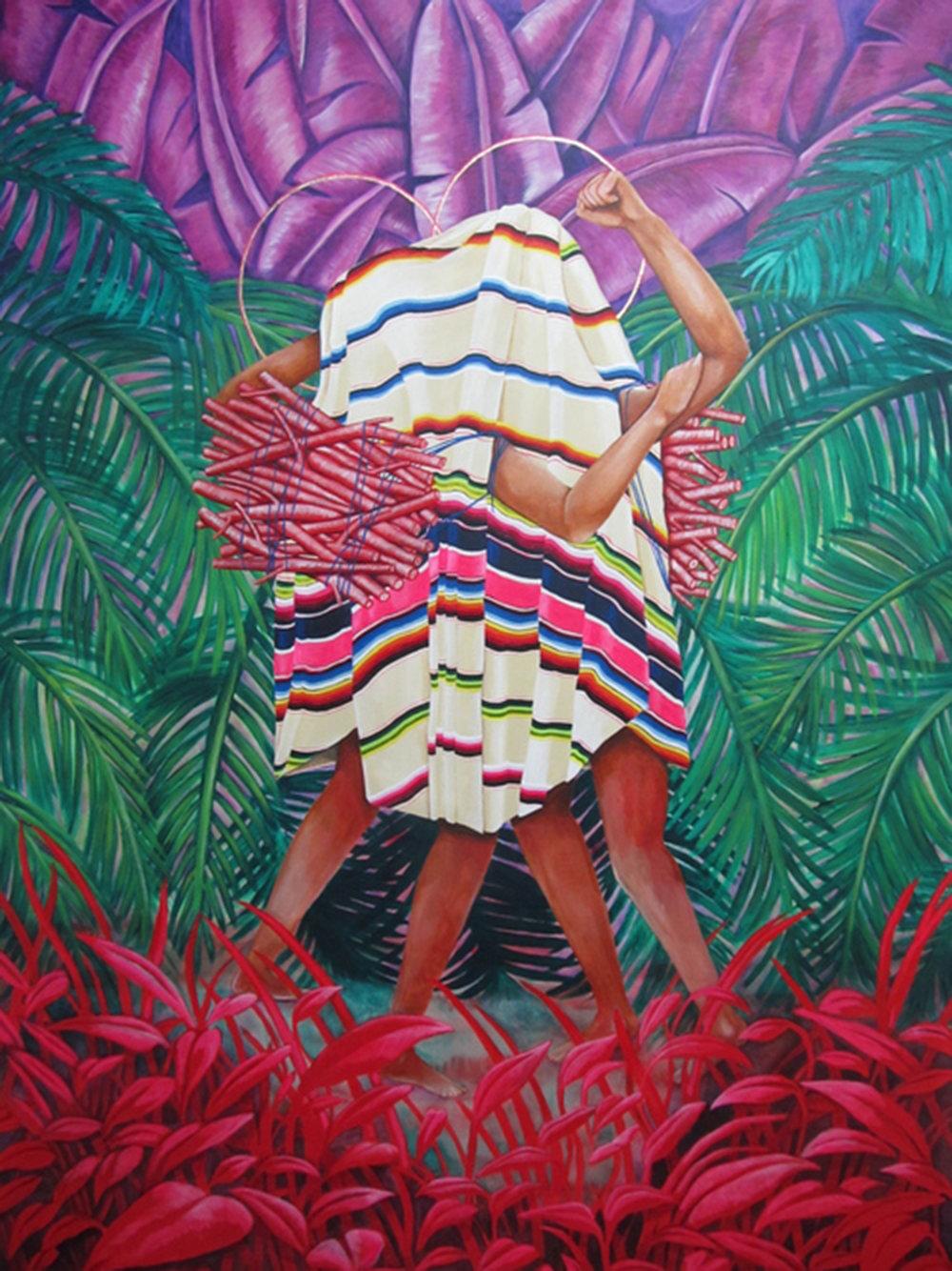 Underneath it all,  2015 Acrylic, oil paint, gold leaf on canvas, 122cm x 168cm