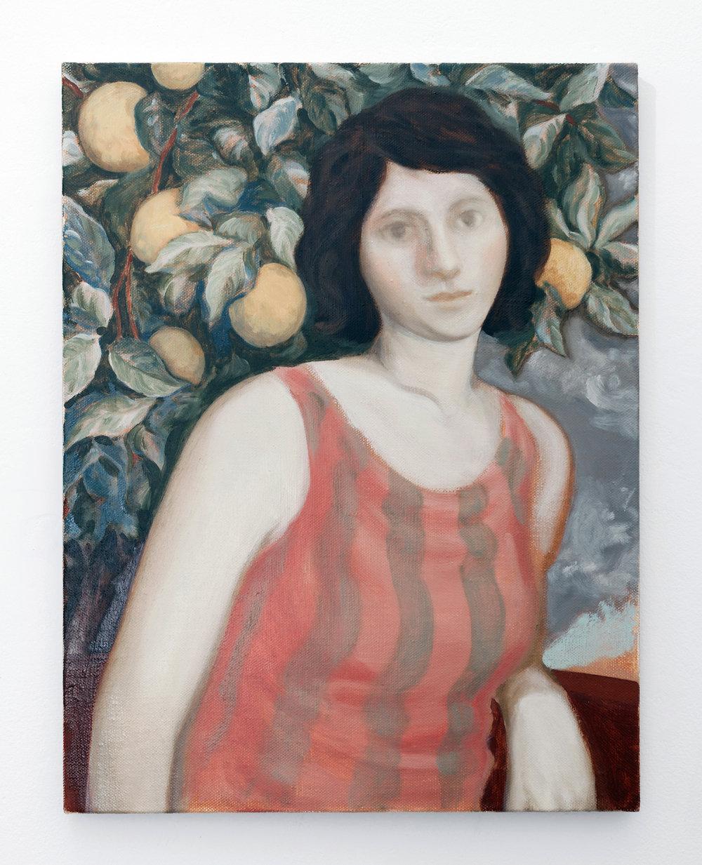 By the lemon tree , 2018 Oil on linen, 55.5cm x 43cm