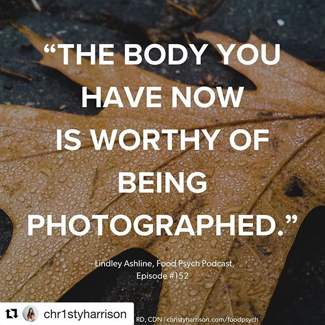 """The body you have now is worthy of being LOVED. The body you have now is worthy of being CELEBRATED. 🙌🏼 #Repost @chr1styharrison with @get_repost ・・・ Most of us are familiar with the """"I'll do it once I've lost weight"""" narrative—we've probably said it at one time or anther. """"I'll buy that bathing suit once I've lost weight."""" """"I'll start dating once I've lost weight."""" """"I'll start pursuing my dreams once I've lost weight."""" How much of our lives have we put off living in the name of weight loss? --------------------------------------------------------------------------------------- If you're waiting until you've lost weight to feel worthy of being photographed, know that you're 100% worthy EXACTLY AS YOU ARE. It might be difficult. It might bring up all the feels. That's what diet culture does—it makes you judge yourself and feel not-good-enough so that you'll keep coming back and using its shoddy products again and again, thinking it's *your* fault they didn't work. --------------------------------------------------------------------------------------- But you deserve so much better. You have every right to be photographed, no matter your size, shape, ability, skin color, gender expression, etc. You, as you are now, are worthy of being seen. You are enough. --------------------------------------------------------------------------------------- #haes #intuitiveeating #edrecovery #antidietproject #antidiet #riotsnotdiets #effyourbeautystandards #losehatenotweight #lifebeyonddieting #thelifethief #balancednotclean #foodisfuel #prorecovery #bodyposi #bodypositive #bopo #foodpsychpod #foodpsych #feminism #healthateverysize #nour"""