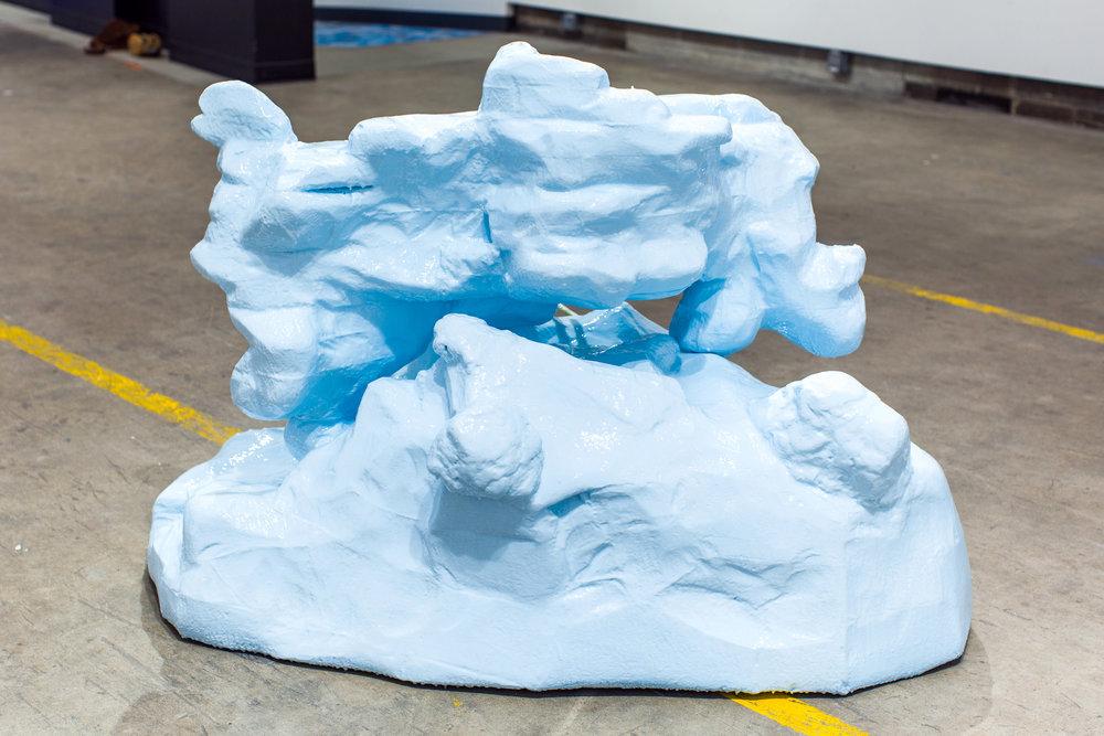M. D. Acuff, Strap-On Iceberg, polystyrene, resin, vinyl, hardware, 38x45x32, 2018