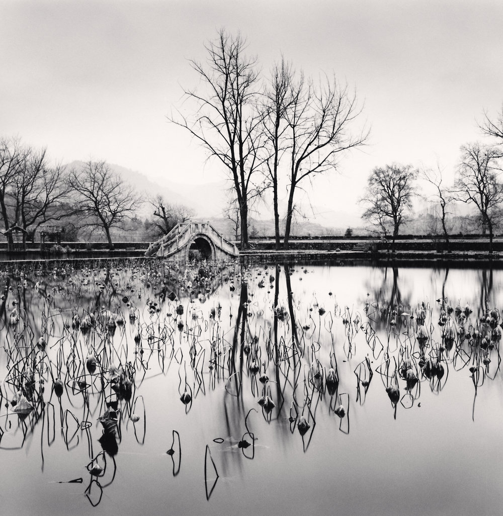 "©Michael Kenna "" Lake Bridge, Hongkun, Anhui, China, 2008."