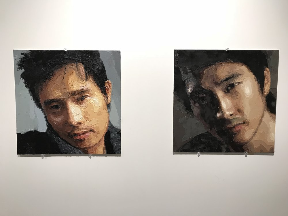 ©ZEN  (左) Lee Byung-Hun, Oil on board, 40 x 40 cm, 2009  (右) Song Seung-Heon, Oil on board, 40 x 40 cm, 2009