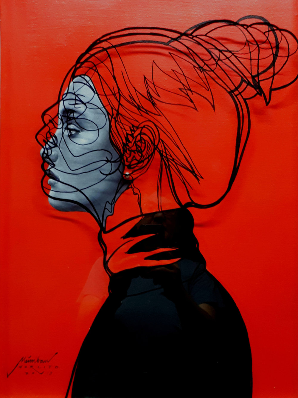 """""""Lady in Red"""" by Norlito Meimban, Galleria Camaya, Philippines, Room 4307"""