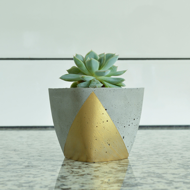 Planter with Gold Accent