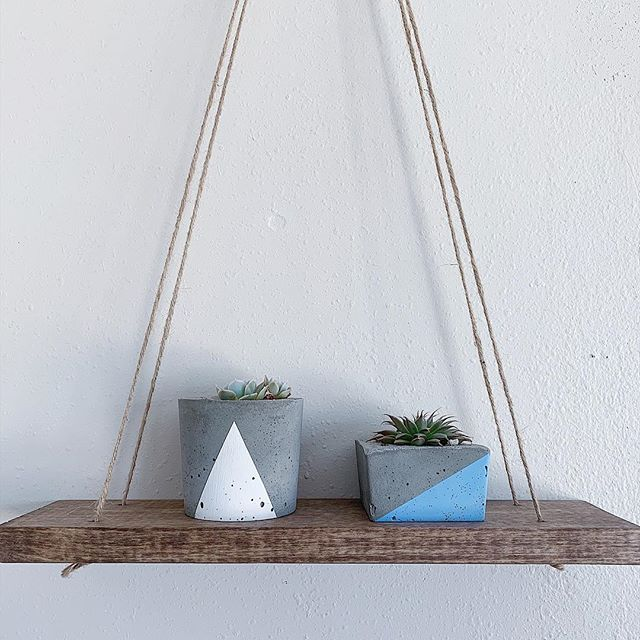 The perfect pair!  #shelfie #shoplocal #shopdenver #etsy #laddershelf #concrete #concreteplanter #concretedecor #denver #coloradomade #coloradomakers #crestandstone #plantsofinstagram #succulent #succulove