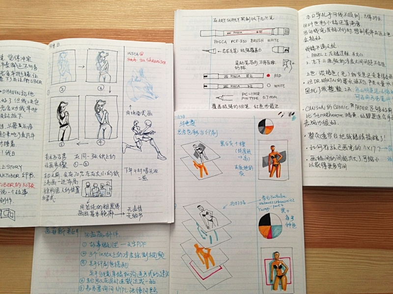Inside pages of my journals, I wrote in Chinese most of the time, but for some technical words I use english. The 1/3 line is for the tips. 创作笔记内页,页面三分之一处划一根线,用以添加备注。