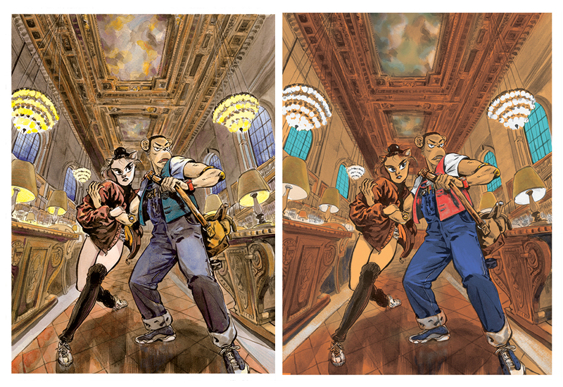 Comparison between watercolor and digital color.水彩上色与数字上色的对比。