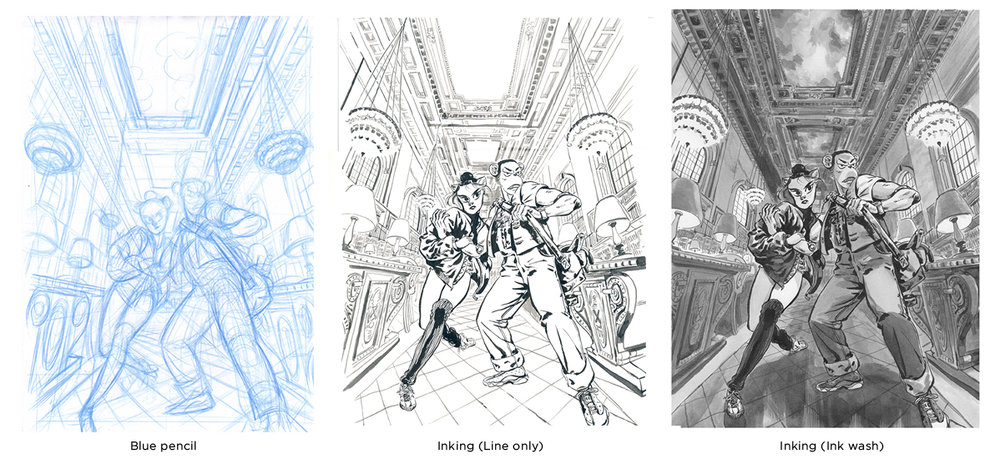 3 steps before coloring: Blue pencil, inking and ink wash.