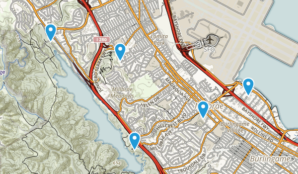 From Left to Right: San Andreas Lake Trail, Spur Trail, Sawyer Camp Trail, Mills Canyon Park Trail, Bayshore Trail