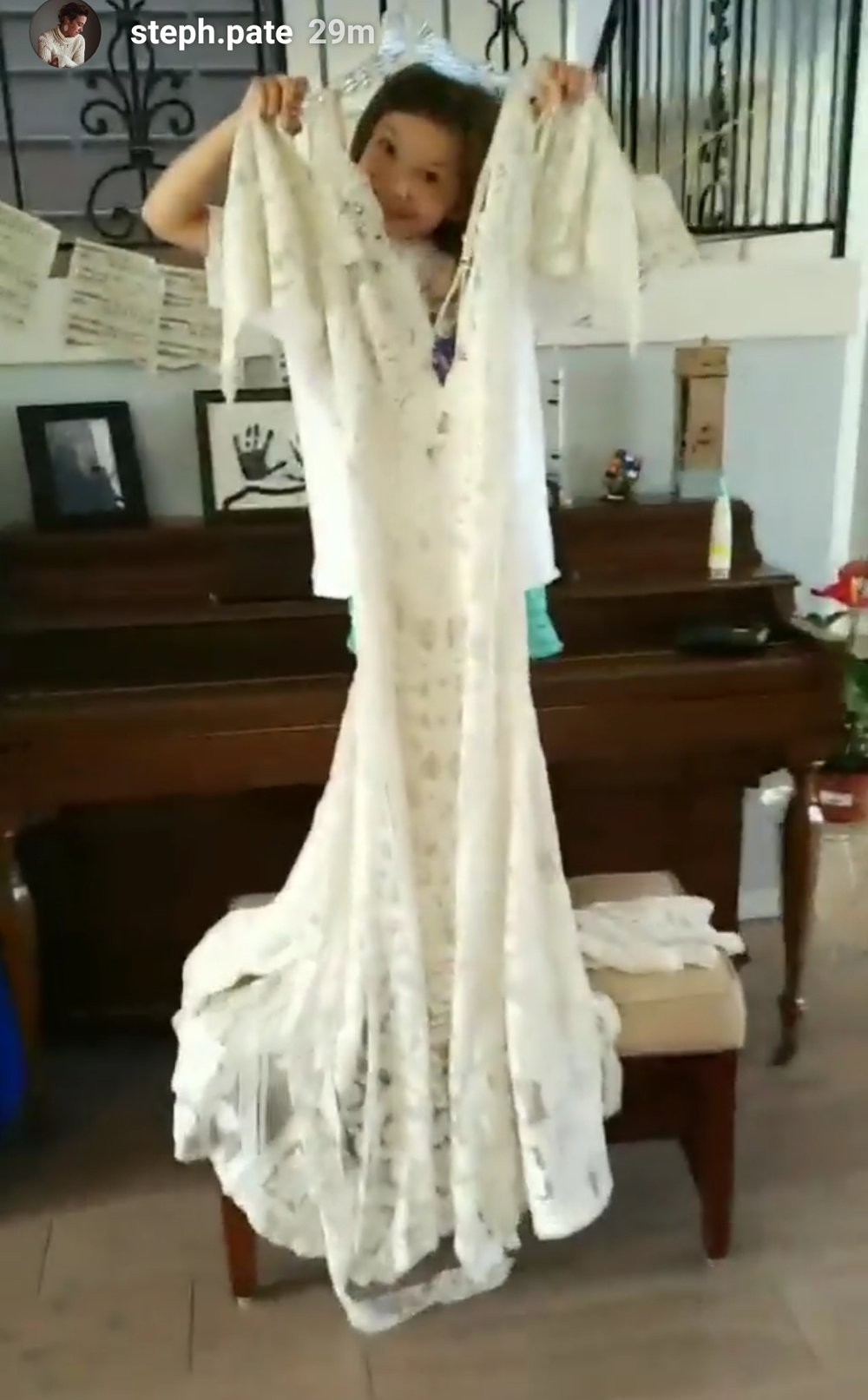 Excuse the poor photo... Cell phone photo of Daughter holding up Reclamation Dress.