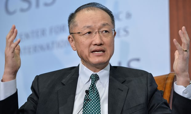 Is the World Bank – president Jim Yong Kim pictured – really breaking with the tech optimism of so many of the world's companies and economic leaders? Photograph: Bao Dandan/Xinhua Press/Corbis