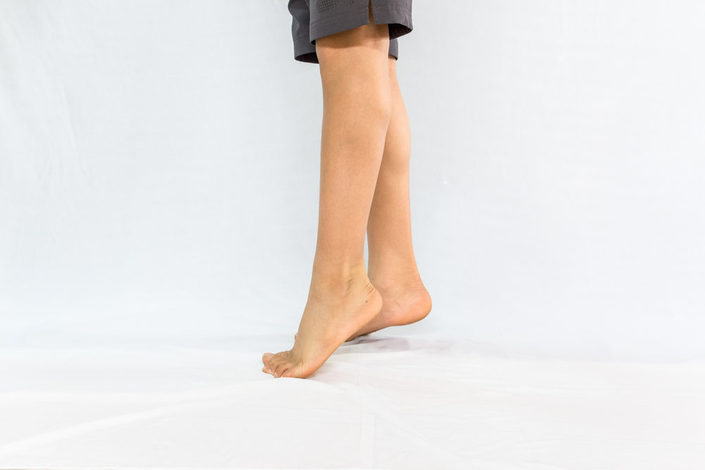 Elven Raises - Single Leg - Have heel of non-exercising leg slightly off the ground. Use it only for balance. Slowly raise the heel of the exercising leg off the ground.Gradually come down.