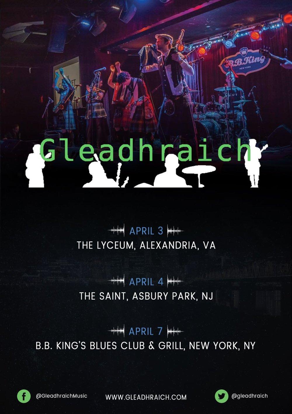 Gleadhraich US tour poster.